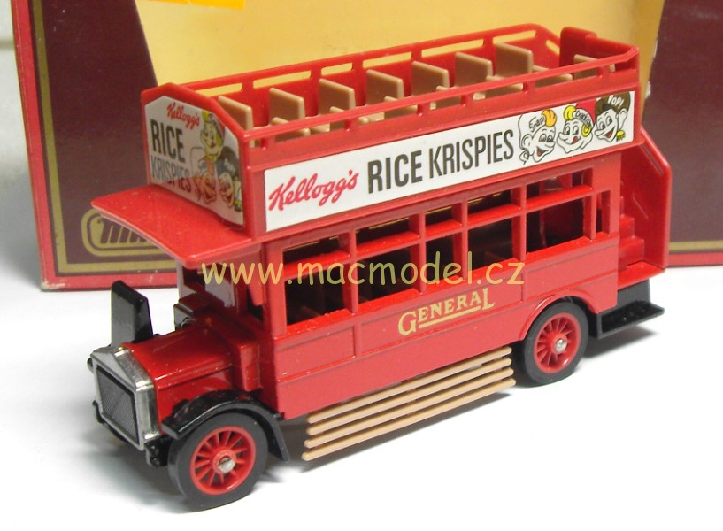 1:72 AEC 1922 double decker bus Rice Krispies, zažloutlá slída krabičky - Matchbox