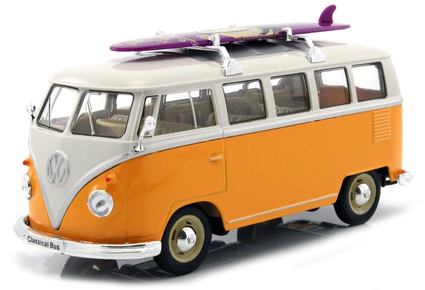 1:24 VW T1 bus 1962 žluto-bílý & surf - Welly