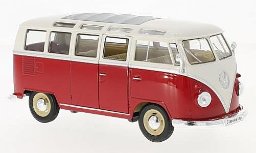 1:24 VW T1 Samba bus 1963 červeno-bílý - Welly
